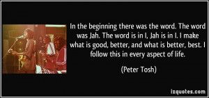 beginning there was the word. The word was Jah. The word is in I, Jah ...