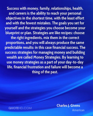 Success with money, family, relationships, health, and careers is the ...