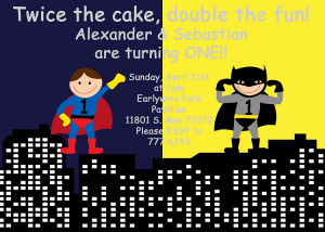 Batman and Superman Superhero Birthday Invitations - Printable or ...