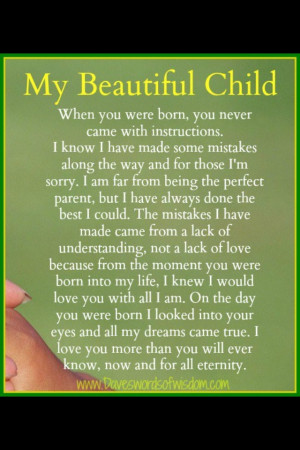 Message to my child. Lovely.
