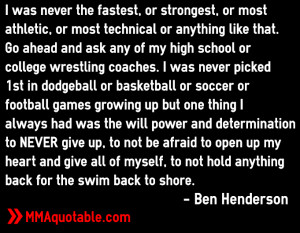 benson henderson on will power determination and not being picked ...