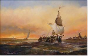 Paul Zander - Marine Scene, Original Oil on Board