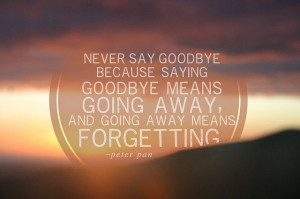 peter pan quote. Never say goodbye.