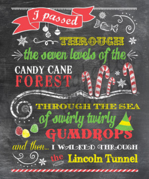 The Elf - Candy Cane Forest - Colorful Chalkboard Look 11 x 14 Print ...