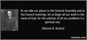 As we take our places in the General Assembly and at the Council ...