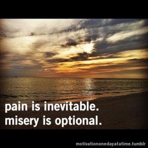 Pain is inevitable. Misery is optional.