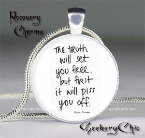 ... Recovery Slogans and Sayings Pendant Necklace, AA/NA Quote Charm