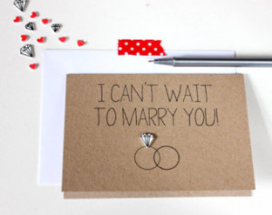 ... Card // Wedding Day Card // I can't wait to marry you - Diamond Ring