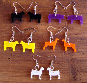 Stock Show Animal Earrings - Set of 5, One Pair of Each-Steer, Heifer ...