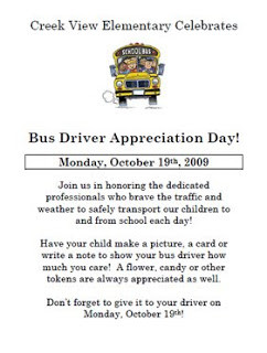 Bus Driver Appreciation Day, Monday October 19