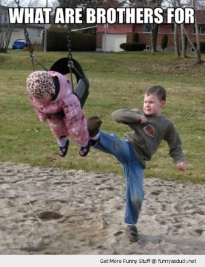 brother boy kicking baby swing park funny pics pictures pic picture ...