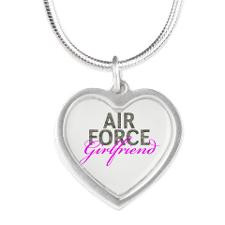 Air Force Girlfriend Silver Heart Necklace for