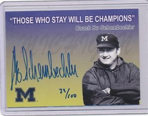 ... TK LEGACY MICHIGAN AUTOGRAPH BO SCHEMBECHLER 79/100 Q1 QUOTE CARD