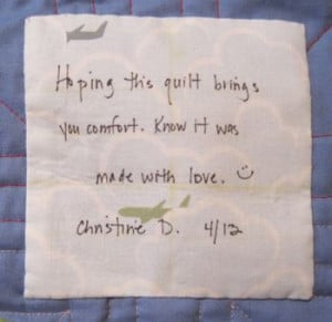Label for a donated quilt to Ronald McDonald house