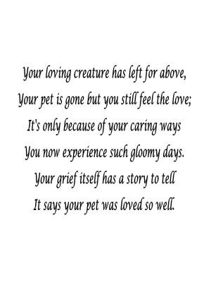 death poems pet loss sympathy