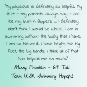 Missy is a great role model to all of us! Go team tall girls!