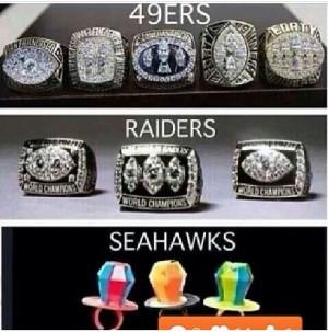 NFL Super Bowl rings #49ers #Raiders #Seahawks suck