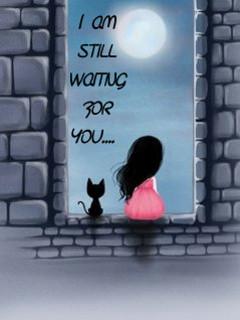 Waiting For You Wallpaper 240x320 cute, drawn, saying, sketch,