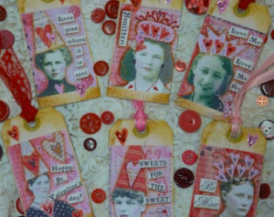 Women VALENTINE TAGS Collage Sheet PDF - art vintage saying old party ...
