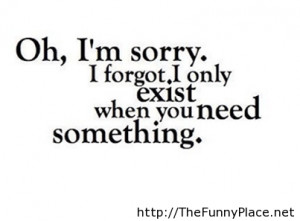Oh, I'm Sorry. I Forgot, I Only Exist When You Need Something.