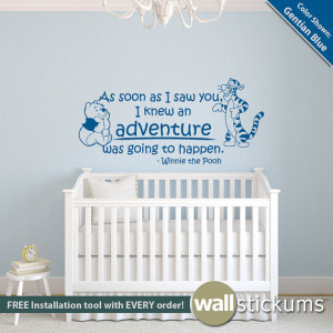 Winnie the Pooh Wall Decal Quote: Adventure Quote with Pooh and ...