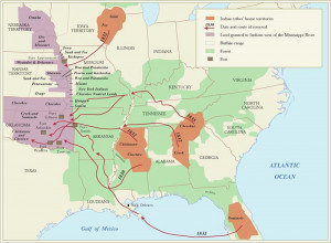 ... major relocation routes of Indians during the removals of the 1830's