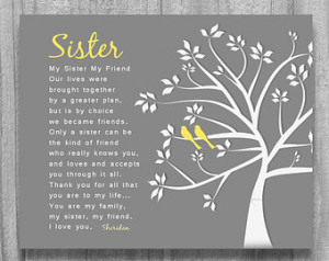 SISTER GIFT My Sister My Friend Personalized Art Print Tree Birds ...