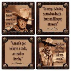 John Wayne Western Photos and His Quotes 4 Piece Coaster Set, NEW ...