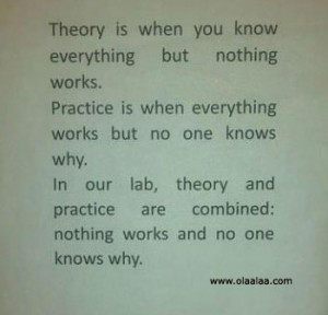 Funny quotes-Theory is when you know everything