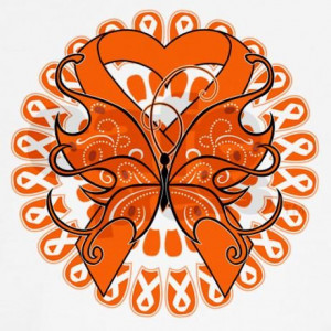 Kidney Cancer Ribbon Color | Kidney Cancer Butterfly Long Sleeve T ...