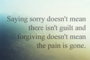 Saying Sorry Doesn't Mean There Isn't Guilt And Forgiving Doesn ...
