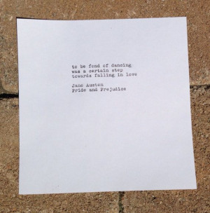 Austen's Pride and Prejudice Quote Typed on Typewriter - 6x6 White ...