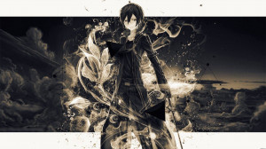 Kirito Gold, Kirito with his swords standing in front of clouds.
