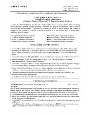 Elementary School Principal Resume Examples