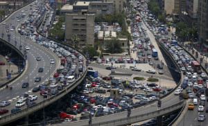 Traffic jam at the 6th October bridge and Ramses Street in downtown ...