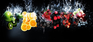 Fresh healthy fruits splash Facebook cover