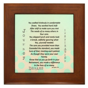 Retired Nurse Poem Framed Tile