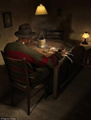 Dunslashin: Freddy Krueger smokes a cigarette as he sits alone at his ...