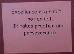 Now that's a good reminder of what excellence is all about. It comes ...