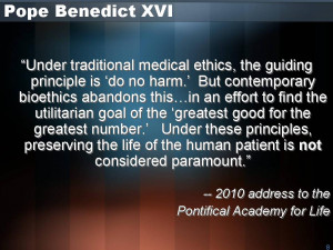 """... ethics in hospitals and ethics boards in most western countries."""" He"""