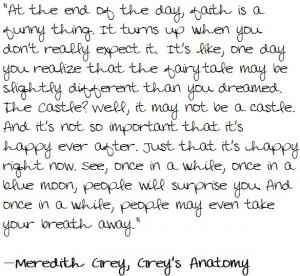 Greys Anatomy -- faith is a funny thing