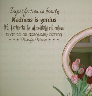 imperfection is beauty marilyn monroe vinyl wall words lettering art ...