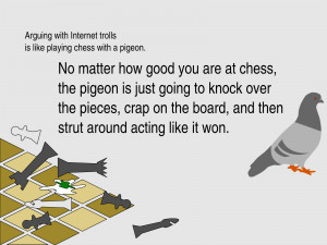 Arguing with internet trolls is like playing chess with a pigeon...