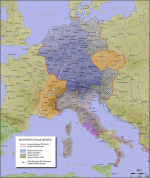 Holy Roman Empire at the death of Otto I (red border)