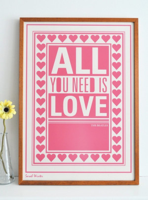 frame, love, pink, quote, the beatles