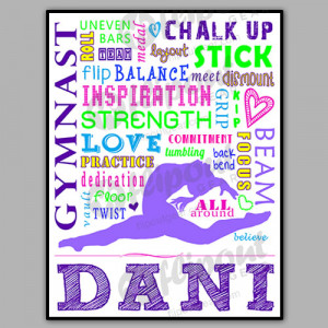 Girls Personalized, Colorful Gymnastics Poster