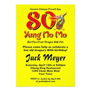 Yung No Mo 80th Birthday Personalized Invitation