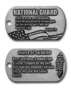 national guard dog tag inspirational necklace antique finish