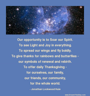 Our opportunity is to Soar our Spirit .