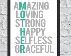 ... happy selfless graceful mother / mom design printable mothers day